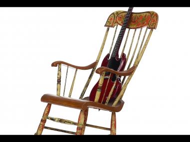 360 video antique rocker with vintage guitar
