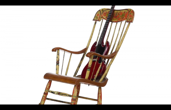 360 video antique rocker with vintage guitar